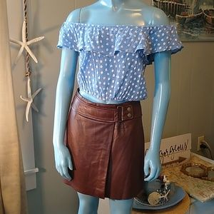 Vintage Hugo Buscati Chocolate Wrap Leather Skirt